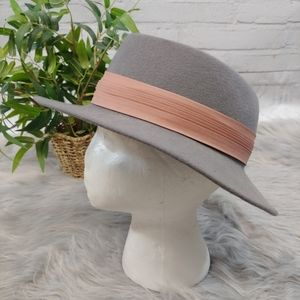 Vintage Lancaster Wool Hat Gray with Rose Detail